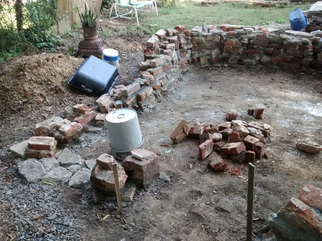 "Yesterday - from ""door."" Mortared the rest of the footprint for the foundation."